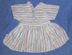 PUPPENKLEID-antik-KLEID-ZELLULOIDPUPPE-alt-Sommerkleid-Streifen-Handarbeit-1940
