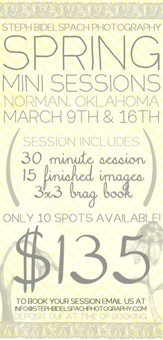 Spring 2013 Mini Sessions | March 9th and 16th | Norman, Oklahoma    To book your session please email us at info@stephbidelspachphotography.com