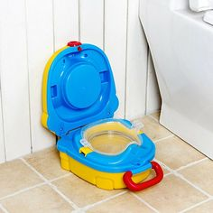 Little Beaver Baby Toddler Potty Toilet Training Seat with Sturdy Non-Slip Step Stool Ladder, Easy to Assemble Toilet Seat for Boys and Girls/ Comfortable Handles(Green Blue)