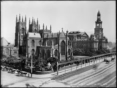 Sydney Town Hall as it appeared in the early 1900s facing north with St. Andrew's Cathedral to the left