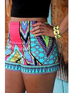 Mulheres Calças Casual / Estampado Shorts Poliéster Micro-Elástica Mulheres