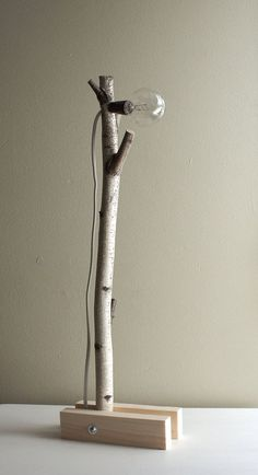 exposed bulb woodland wall/desk lamp natural by urbanplusforest, $120.00