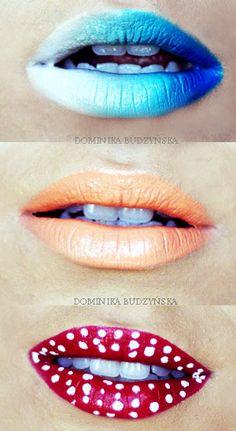 Blue lipstick, orange lips, polka dot..