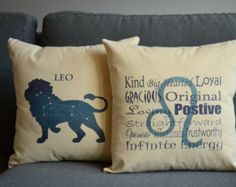 Set of 2 Leo Zodiac Sign Pillows- Cotton Covers and or Cushions - 14x14, 16x16, 18x18, 20x20