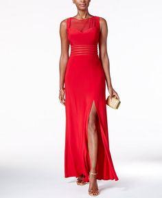 Nightway Petite Illusion Mesh Slit Gown