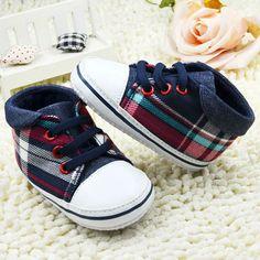 4b2b7d80c0e Toddler Boys Plaid Crib Shoes Sneaker Kid Lace UP Soft Sole Baby Shoes  Prewalker