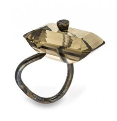 © Bernhard Schobinger Smoky Quartz on Countersink Nail ring, 2010, gold and smoky quartz  Los Angeles County Museum of Art gift of Lois & Bob Boardman  via Beyond Bling: Jewelry from the Lois Boardman Collection | LACMA