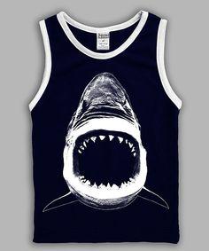 Navy Shark Bite Tank - Kids & Tween
