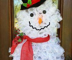 deco mesh snowman wreath front door christmas wreath