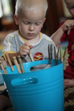 Toddler Fine Motor Activity with Clothespins : hands on : as we grow
