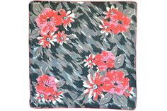 RETRO HANKIE Cherry Red Abstract Flowers on Field of by CUSHgoods