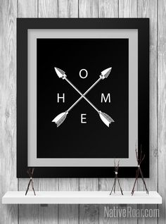 Arrows Crossing HOME Native American Digital Print Black and White Indian Home Decor Wall Printable Poster Minimalistic Art by Native-Roar