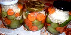 Vegyes zöldségek télire tartósító nélkül Mason Jars, Red Peppers, Canning Jars, Glass Jars, Jars, Mason Jar