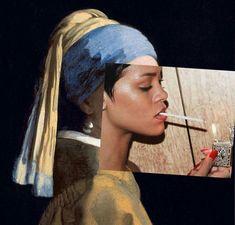 Rihanna x Jan Vermeer Photomontage, Photoshop, Historical Art, Two Faces, Arte Pop, Belle Photo, Oeuvre D'art, Art Inspo, Modern Art