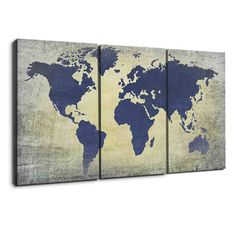 Charcoal and silver world map panel wall art canvases and free grunge blue world map gumiabroncs Images