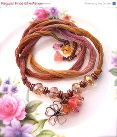 Sari Ribbon Bracelet Silk Wrap Beaded Boho by Phoebedreams on Etsy