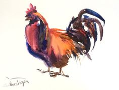 Rooster, Original watercolor painting, 12 X 9 in, Asian style traditional watercolor art, kitchen wall art