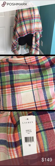 Wow Ralph Lauren fringed blanket Shawl plaid One size. Ralph Lauren retails $398. Wool blend. Gorgeous and versatile. Shades of pink, blue, red, orange. Fringes. Wear it open or toss one side over your shoulder. You are awesome. Lauren Ralph Lauren Sweaters Shrugs & Ponchos