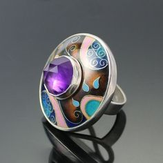 """Cloisonne Enamel with Rose Cut Amethyst (stone is 14mm) Sterling Silver Ring ~ measures 1 3/8"""" Top Radius and size is 7.5 by 'agoraart' on Etsy★❤★"""