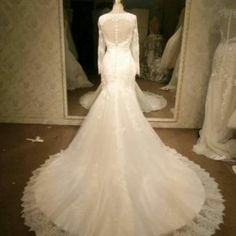 Style #97223 - Sheer back long Sleeve lace wedding gowns - Darius Cordell