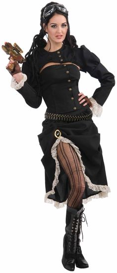 Amazon.com: Woman's Steampunk Renegade Costume, Black/White, One Size: Adult Sized Costumes: Clothing