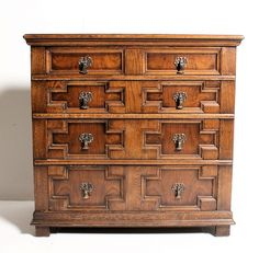 A Lovely 1920s Jacobean Style Solid Oak Moulded Chest Of Drawers With  Walnut Panels U0026 Graduated