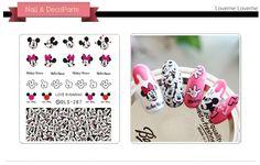 DLS281-290 DIY Water Transfer Foils Nail Art Sticker Fashion Nails Mouse Tiger Cartoon Decals Minx Cute Nail Decorations