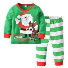 6a81bf521b 2Pcs Boys Santa Claus Print Long Sleeve Top Pants Pajamas Set For 1Y-7Y.  Pajama OutfitsKids OutfitsGirls ...