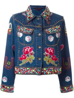 Shop for embellished denim jacket by Manish Arora at ShopStyle. Manish Arora, Blue Jean Jacket, Embellished Jeans, Denim Coat, Sport Casual, Women Brands, Jacket Style, Refashion, Denim Fashion