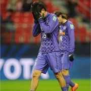 TOYOTA, JAPAN - DECEMBER 09: Yojiro Takahagi of Hiroshima looks dejected after the FIFA Club World Cup Quarter Final match between Sanfrecce Hiroshima and Al-Ahly SC at Toyota Stadium on December 9, 2012 in Toyota, Japan. (Photo by Michael Regan - FIFA/FIFA via Getty Images)