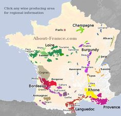 Map of French vineyards - wine growing areas of France French Wine Regions, Wine Folly, Chateauneuf Du Pape, Saumur, Wine Vineyards, France Map, Wine Education, Wine Guide, In Vino Veritas
