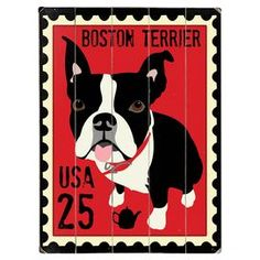 Pay homage to your four-legged friend with this charming planked wood wall decor, featuring a Boston Terrier postage stamp motif.  Product: Wall decorConstruction Material: WoodColor: Red and blackFeatures: Ready to hang Cleaning and Care: Wipe with a damp cloth