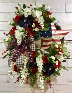 Custom Order for Scott: Patriotic/Americana Wreath Patriotic/Americana Mailbox Swag Fourth Of July Decor, 4th Of July Decorations, Tree Decorations, Christmas Decorations, July 4th, 4th Of July Wreaths, Floral Decorations, Wreath Crafts, Diy Wreath