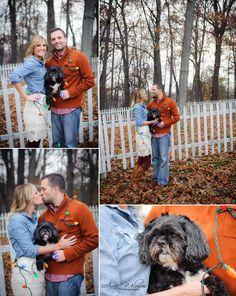 2 Christmas photos with dog, couple and their dog, Christmas lights photo idea, best Bethel Park, Pittsburgh photographer