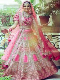 Best Ideas For Wedding Indian Bridal Lehenga Red Designer Bridal Lehenga, Pink Bridal Lehenga, Wedding Lehnga, Wedding Wear, Pink Lehenga, Punjabi Wedding Dresses, Wedding Suits, Gold Wedding, Wedding Bride