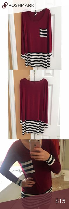 Wine, Black & White Striped Top🍷🖤 Size Small wine colored top with black & white stripes.🌹 Very long and looks so cute paired with leggings or jeans. Only worn once. Leave a comment if you have any questions and feel free to make an offer! 🌸 Bundle an