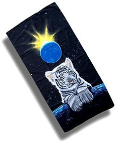 """Custom & Luxurious {30"""" x 60"""" Inch} 1 Single Large & Thin Soft Summer Beach & Bath Towels Made of Quick-Dry Cotton w/ Siberian White Tiger Cub Universe Stars Space Planet Earth Moon Style [Multicolor]"""
