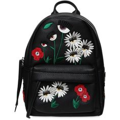 Chiara Ferragni Women Small Daisy Faux Leather Backpack ($695) ❤ liked on Polyvore featuring bags, backpacks, black, backpack bags, knapsack bag, day pack backpack, daisy bags and vegan leather backpack