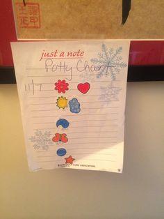 The Easy & Free DIY Potty Training Chart -- Hint Mama shares how to easily make a free potty training reward chart.