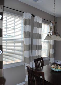 Benjamin Moore Brandon Beige wall color... Love the DIY striped curtains