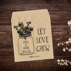 25 x seed packet wedding favours personalised with your names and wedding date. These cute eco-friendly Brown seed bags are self sealing and you can fill them with any type of seeds you like (no seeds are included).  Personalised wedding seed packets make the perfect wedding favour for your guests. Your love is a story about to be written. Share the chapters of your story with your friends and family with these beautiful and endearing seed packets. Through the years of your love there will…