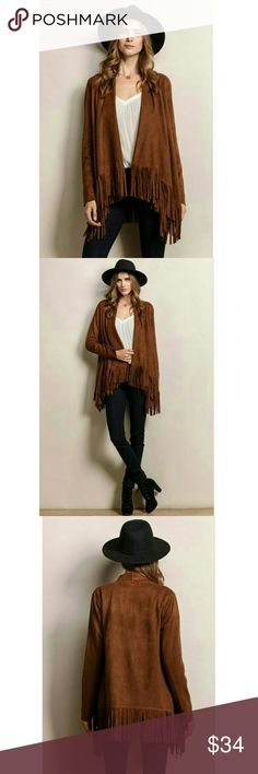 "Brown Long Sleeve Suede Fringe Sweater Suede + Fringe = ♡ 90% polyester, 10% spandex. Measured flat. - S Armpit to bottom: 15"" with 6"" fringe Shoulder to wrist: 24"" Back, neck to bottom: 22 1/4"" with 6"" fringe Armpit to armpit: 19.5"" - M Armpit to bottom: 15"" with 6"" fringe Shoulder to wrist: 24.5"" Back, neck to bottom: 23"" with 6"" fringe Armpit to armpit: 20.5"" - L Armpit to bottom: 16"" with 6"" fringe Shoulder to wrist: 25"" Back, neck to bottom: 24"" with 6"" fringe Armpit to armpit: 21""…"