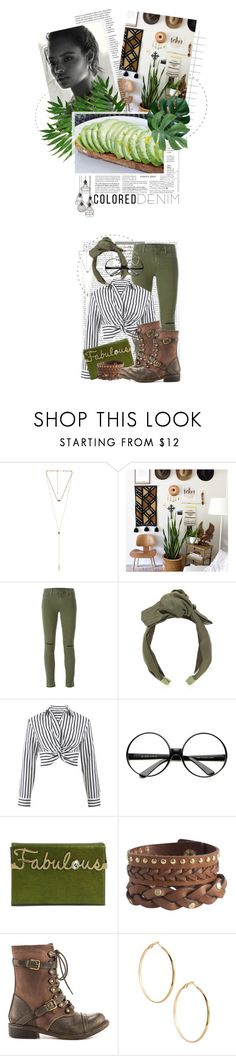 """Colored Denim: Fabulous Olive"" by crystal85 ❤ liked on Polyvore featuring 8 Other Reasons, J Brand, Jennifer Behr, T By Alexander Wang, ZeroUV, Charlotte Olympia, Pieces, ZIGIgirl, GUESS by Marciano and Modern Vintage"