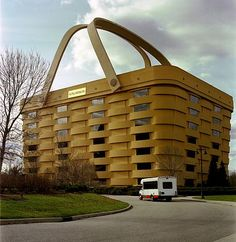 The Longaberger Company's Home Office really is a basket! Actually, the building is a replica of a Longaberger Medium Market Basket, only 160 times larger.   This blog also has some other fantastical architecture worth looking at.