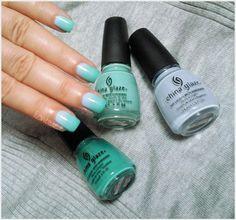 Blue green Nails
