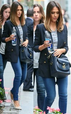Jessica Alba street style in New York (September 2014). #jessicaalba