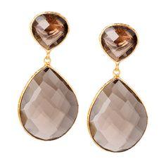 18K Gold Clad Smoky Topaz Double Drop Earrings