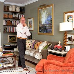 Portrait of interior designer William Yeoward standing in the living room of his London apartmen. Interior Design Masters, House Inside, Home Decor Fabric, Interior Exterior, Decoration, Living Area, Interior Inspiration, Living Room Designs, Family Room