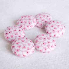 Fabric Buttons Porcelain Flowers 6 Small Pink by PatchworkMill, $3.50