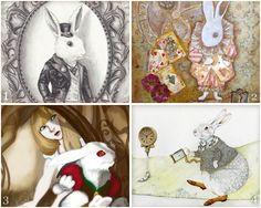 Wonderful White Rabbit art inspired by Alice in Wonderland!